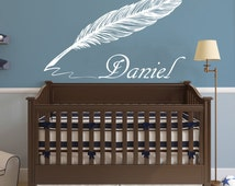 Name Wall Decal Feather Vinyl Lettering Decal Sticker Custom Decals Personalized Name Decor Bedroom Nursery Baby Room Decor Girl Boy ZX198