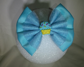 Cup Cake Hair Bow / Teal - Small