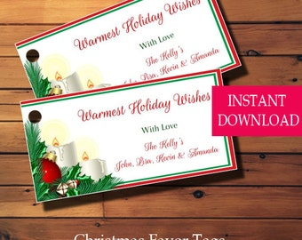 Christmas Favor Tags, Christmas Gift Tags, Christmas Tags, Printable Tags,  Instant Download Holiday Tags, Holly & Berry