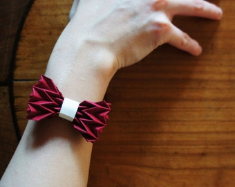 red & black bangle with origami bow