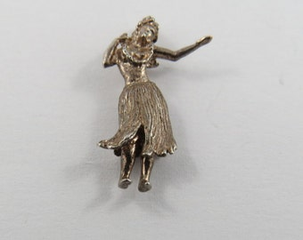 Hawaiian Hula Dancer Sterling Silver Charm or Pendant.