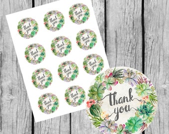 """Thank You Tags Printable. 2"""" Round Tags. Instant Download. Thank You Succulent Tags. Thank You Tags for Wedding. Thank you Labels."""