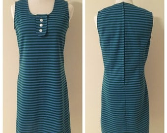 Vintage 1960s Blue and Green Striped Mod Mini Dress