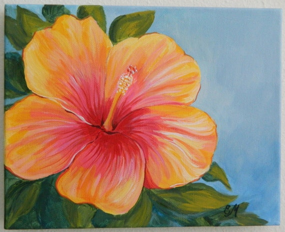 Hibiscus painting yellow and red hibiscus origianl painting for Easy way to paint flowers
