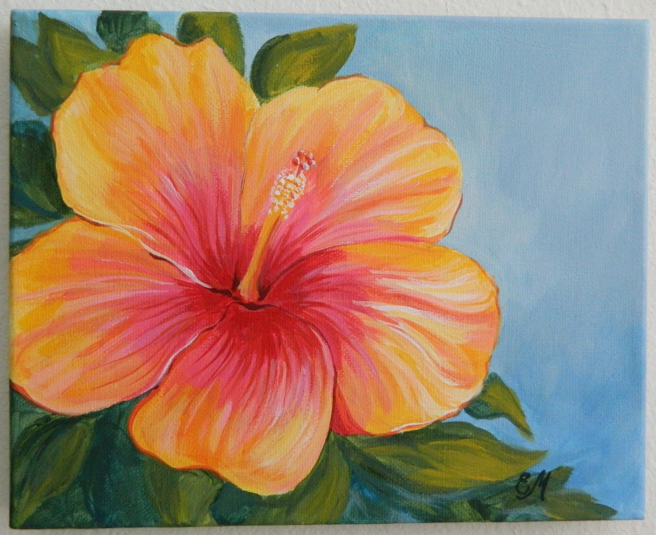 Hibiscus painting yellow and red hibiscus origianl painting for Flower paintings on canvas