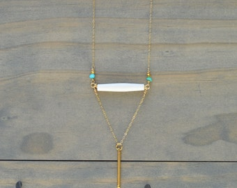 Gold Filled Long Minimalistic Geo Necklace