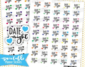 Date Night | PRINTABLE Planner Stickers | Pdf, Jpg, Silhouette Studio V3 Format | ECLP Vertical Planner Stickers
