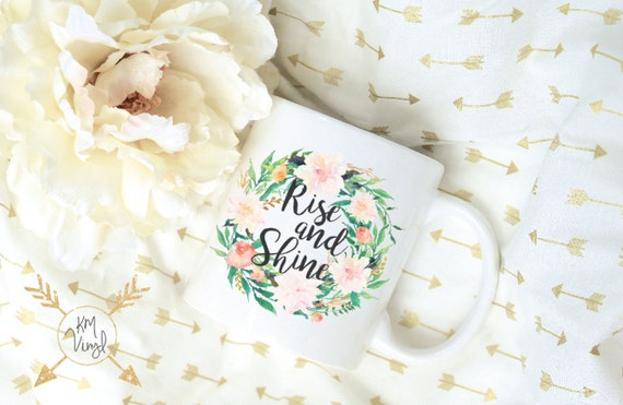 Rise and Shine Watercolor Floral Wreath Sublimation Mug, 2 Sided