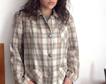 Ivory Plaid Vintage 1950's Jacket