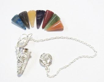 Pentagram Cage Pendulum with 7 chakra cone gemstones sets OM crystals metaphysical Divination pendulum dowsing magic spiritual healing Reiki