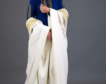 Medieval  wool white cloak.