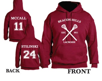 Teen Wolf Beacon Hills Lacrosse Hooded Sweatshirt Sports Scott McCall 11 Hoodie Stiles Stilinksi 24 Lacrosse Hoodie