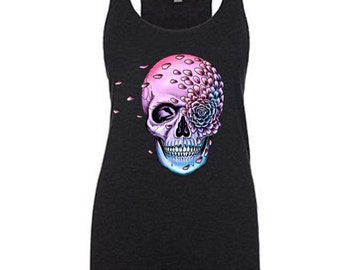 Falling Petals Flower Skull Colorful Tank Top