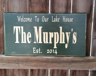 Outdoor Name Sign - Outdoor Plaques - Personalized Lake House Sign - Rustic Lake Sign - Personalized Gift - Lake Life - Lake Sign On Wood