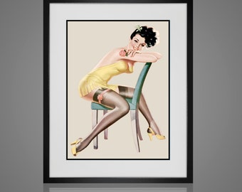 PINUP ART Matted and Framed Pin-Up Girl Vintage Risque  Available In 4 Sizes Black or White Frame Retro Wall Art Art for Girls