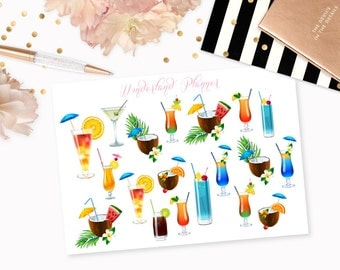 Colourful Summer Cocktails Decorative Planner Stickers