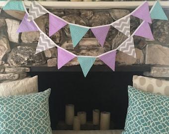 Purple Aqua and Gray Fabric Bunting Banner for Baby Shower, Birthday, Nursery, or Girls Room