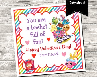 Instant Download Shopkins Valentine Square Tag Gift Tag Digital Printable