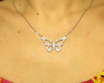 Sterling silver Butterfly Necklace, Butterfly necklace, DELICATE NECKLACE, Butterfly Jewelry