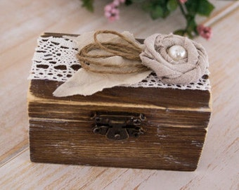 Wedding Ring Box Bride Groom Ring Bearer Ring Holder Rustic Wedding Ring Box
