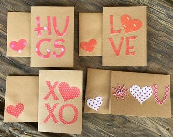 Handmade Set of Valentine Cards for Kids