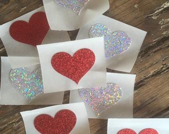 Heart Shaped Glitter Stickers