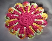 "Hot Pink Petal Design Dishcloth - 9"" Round Scalloped"