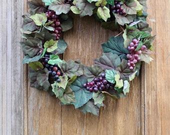 Grape Wreath, Winery Wreath, Muscadine Wreath, Fall Wreath, Summer Wreath, Tuscany Wreath, Front Door Wreath, Grapes, Napa Wreath