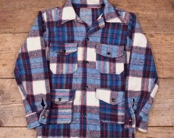 "Mens Vintage 1970s Blue Wool Overshirt Jacket Size S 34""- 36"" R3193"