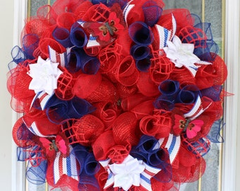 Red and Blue light up Deco Mesh Wreath