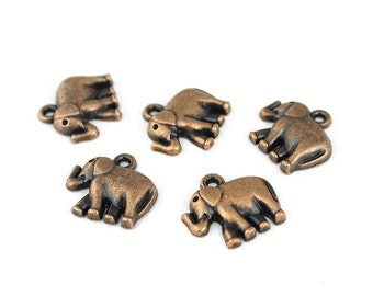 Antique Copper Elephant Charms - 5 Pieces