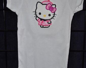 "Embroidered Applique ""Kitty School Girl"" Onesie - Size 3-9M"