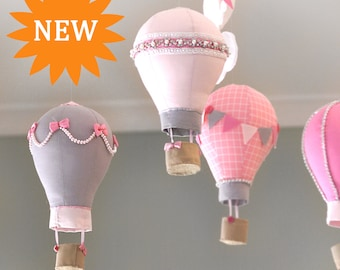 NEW! Hot Air Balloon Nursery Mobile- PERSONALISED - Baby Mobile - Pink & Grey - Nursery Decor  - Rhinestone