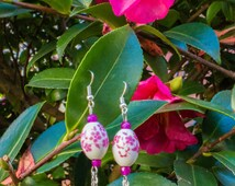 Earrings, ceramic beads, Pearl vein of dragon and Pearl Pink