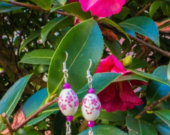Violet and Rose Glass Beads Earrings