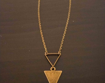 Necklace in antique bronze double-wishbone