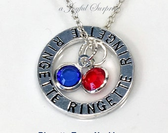 Set of 20 Ringette Team Necklace, with 2 team colors, Gift for Year End Coach Party Jewellry, Silver Ringette Circle Charm, Team Necklace