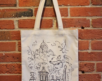 Philadelphia Canvas Tote Bag, Rittenhouse Square Canvas Tote Bag, Tote Bag Canvas, City Skyline Canvas Tote Bag, Canvas Tote Bag with Pocket