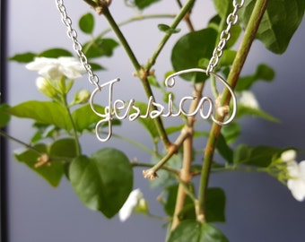 Personalized Wire Name Necklace Silver Plated.