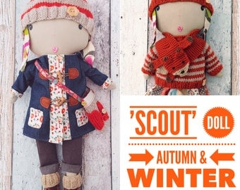 Customisable Cloth Doll 'Scout'with Autumn and Winter Wardrobe PDF Sewing Pattern
