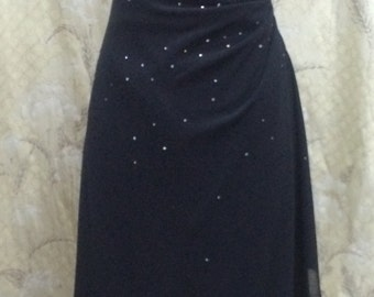 Vintage 1980s Black Beaded Evening Gown, Jessica McClintock, Size 4