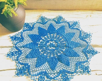Blue Crochet Doily Handmade Lace Crochet Doilies Decoration Knitted Doily Pineapple Crochet Christmas Decoration Birthday Gift Woman