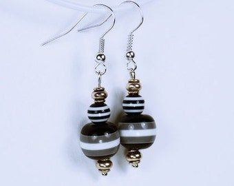 Earrings with striped beads in black, grey and white on Silver earrings - unique
