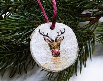 Reindeer Rudolf - ornaments - hand painted Dekoanhänger wood - unique Christmas tree ornaments Christmas