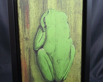 Frog - original art print on canvas with black frame 35 x 25 cm single-piece image frogs painting unique
