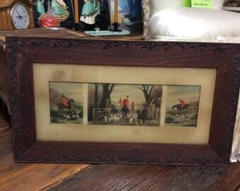 Antique Wood Frame Art Horses