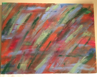 Red, green, orange & blue, abstract acrylic painting, 18x24