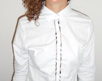 VINTAGE BURBERRY BLOUSE Button Up Ladies Designer Top From Paris, France