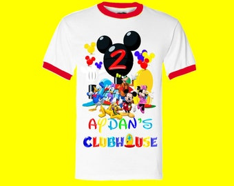 Mickey Mouse Clubhouse Birthday Shirt - Mickey Mouse Boy's Shirt - Ringer Style Available