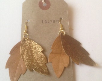 Gold/Cream Leather Leaf  Earrings